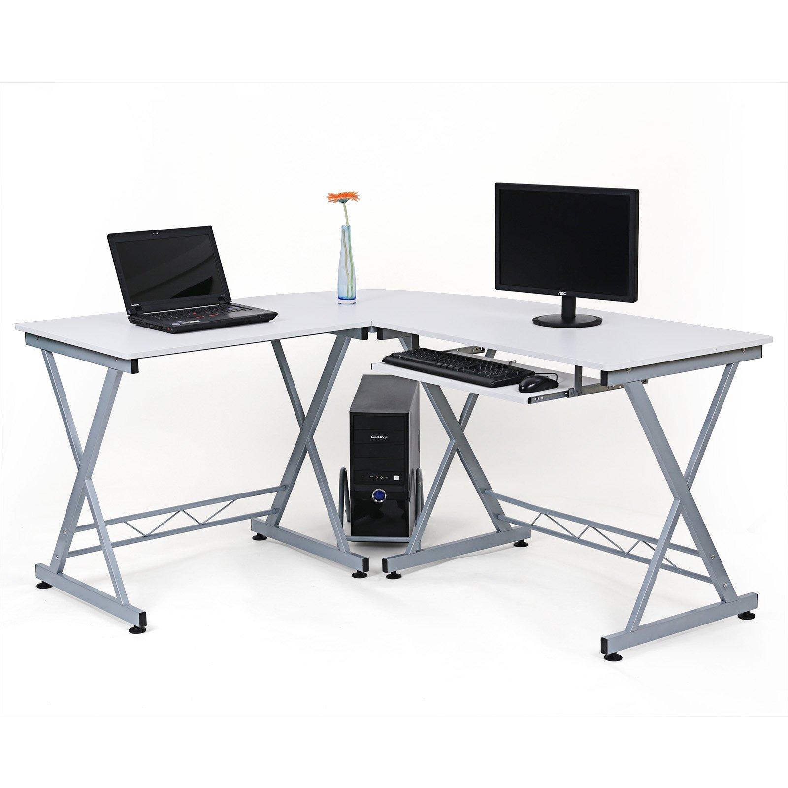Scrivania Per Computer Bianco.Lcd402w 150 X 138 X 75 Cm Songmics Scrivania Per Scrivania Ufficio
