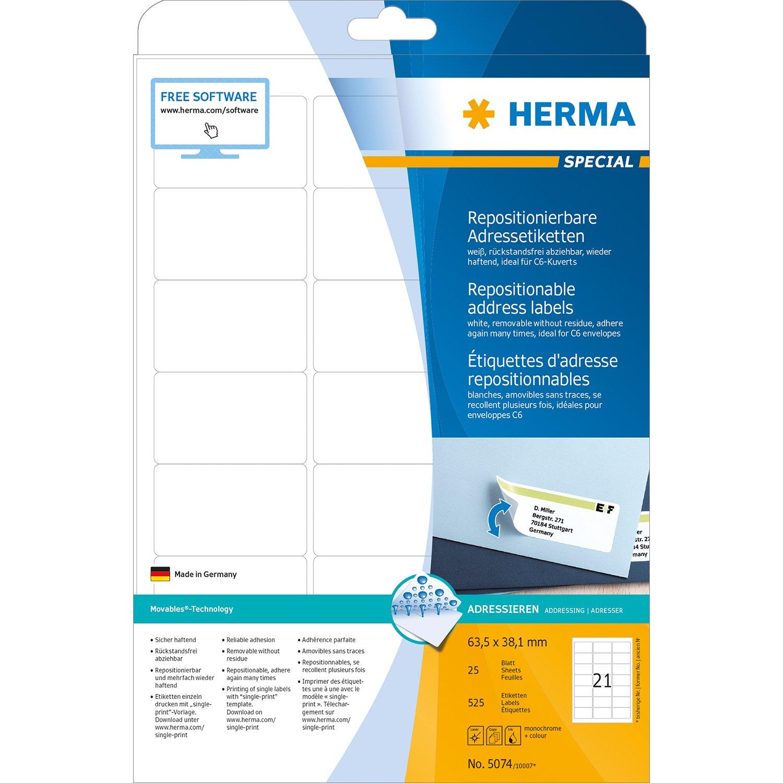 38,1 x 21,2 mm HERMA SuperPrint colore: Bianco etichette con bordo